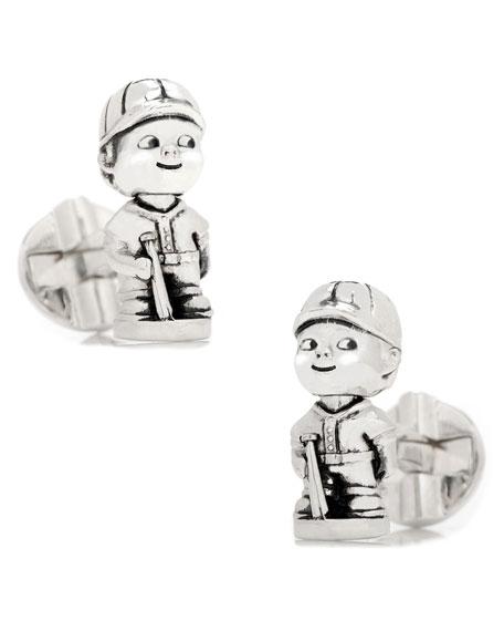 Baseball Bobblehead Sterling Silver Cuff Links