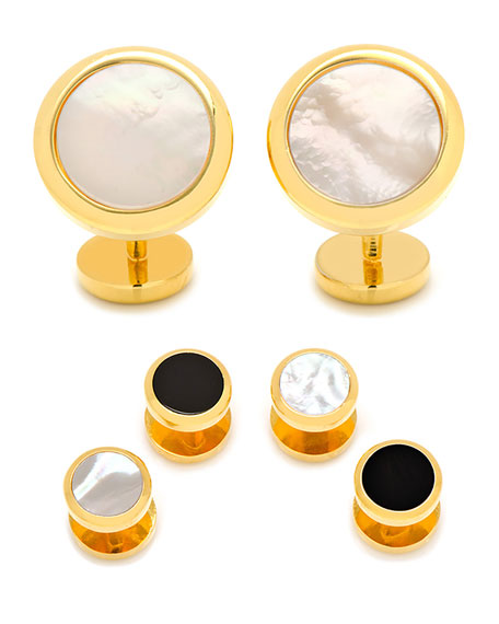 Cufflinks Inc. Double-Sided Mother-of-Pearl & Onyx Cuff Links & Stud Set MnZNxJlSd