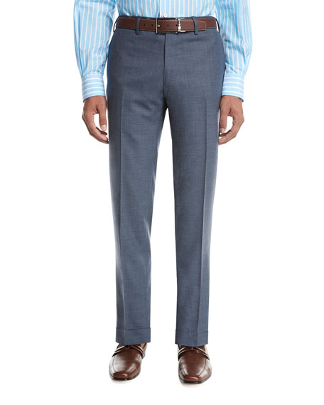 Kiton Tropical Wool-Cashmere Flat-Front Trousers, Gray