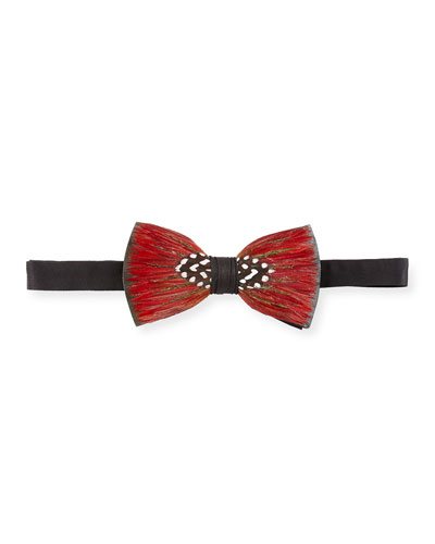 Metallic Feather Bow Tie, Red