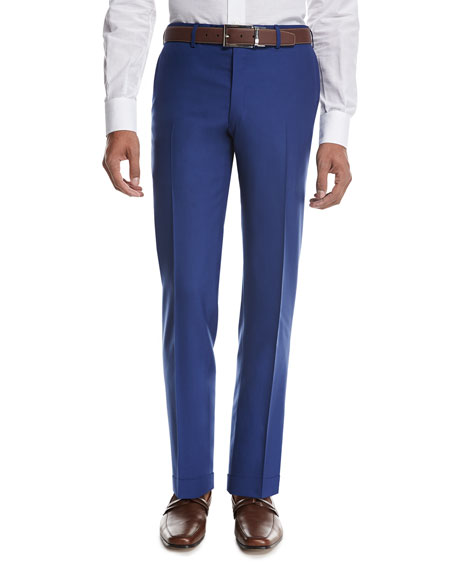 Tropical Wool-Cashmere Flat-Front Trousers, High Blue