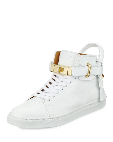 Buscemi 100mm Golden-Padlock Sneakers, White