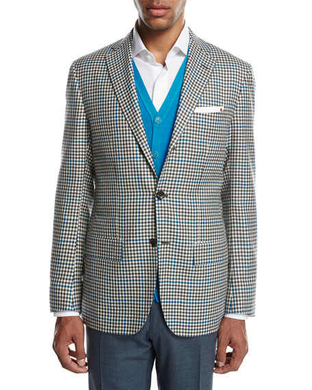 Two-Tone Check Cashmere Sport Coat, White/Black/Blue