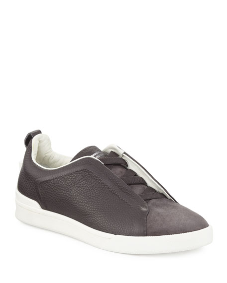 Couture Men's Triple-Stitch Leather & Suede Low-Top Sneaker, Gray