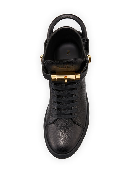 100mm High-Top Leather Sneaker with Padlock, Black