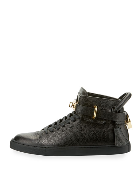 Men's 100mm High-Top Leather Sneakers with Padlock, Black