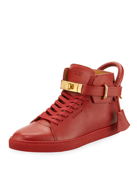 Men's 100mm High-Top Sneakers, Red
