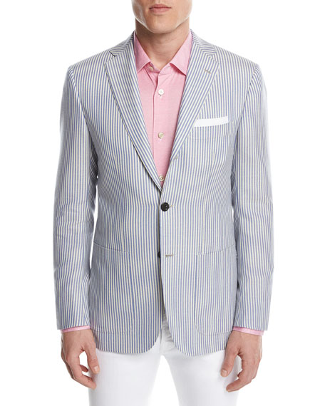 Striped Cashmere Two-Button Sport Coat, Blue/White