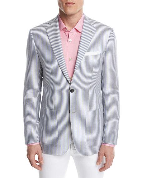 Striped Cashmere Two-Button Sport Coat, Blue/White