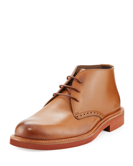 Burnished Leather Chukka Boot, Brown
