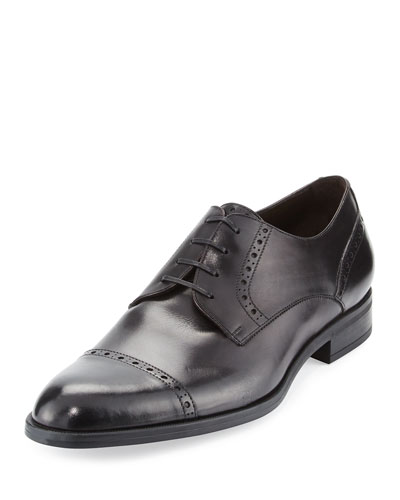 Leather Cap-Toe Derby Shoe, Black
