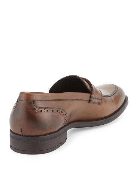 Burnished Calf Leather Penny Loafer, Chestnut