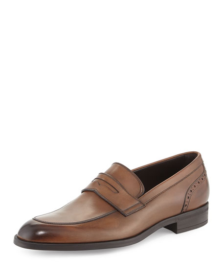 Ermenegildo Zegna Burnished Calf Leather Penny Loafer, Chestnut