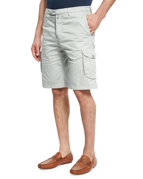 Kiton Stretch-Cotton Cargo Shorts, Stone Gray