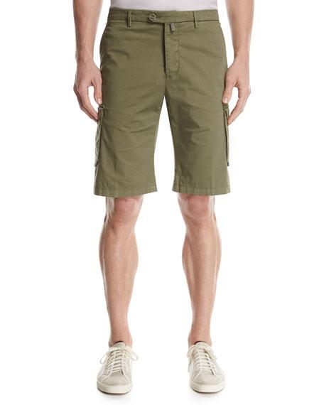 Kiton Twill Cargo Shorts, Olive