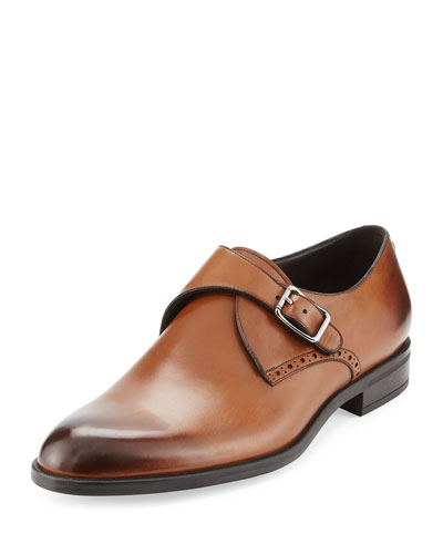 Burnished Leather Monk-Strap Shoe, Brown