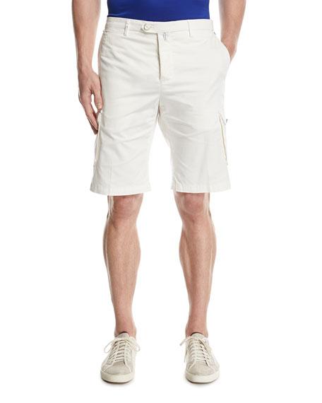 Kiton Twill Cargo Shorts, White