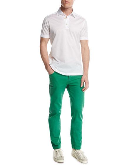 Twill Slim-Straight Jeans, Green