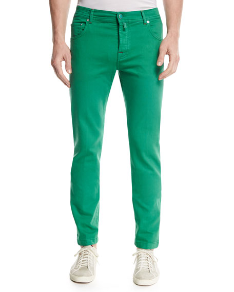 Kiton Twill Slim-Straight Jeans, Green