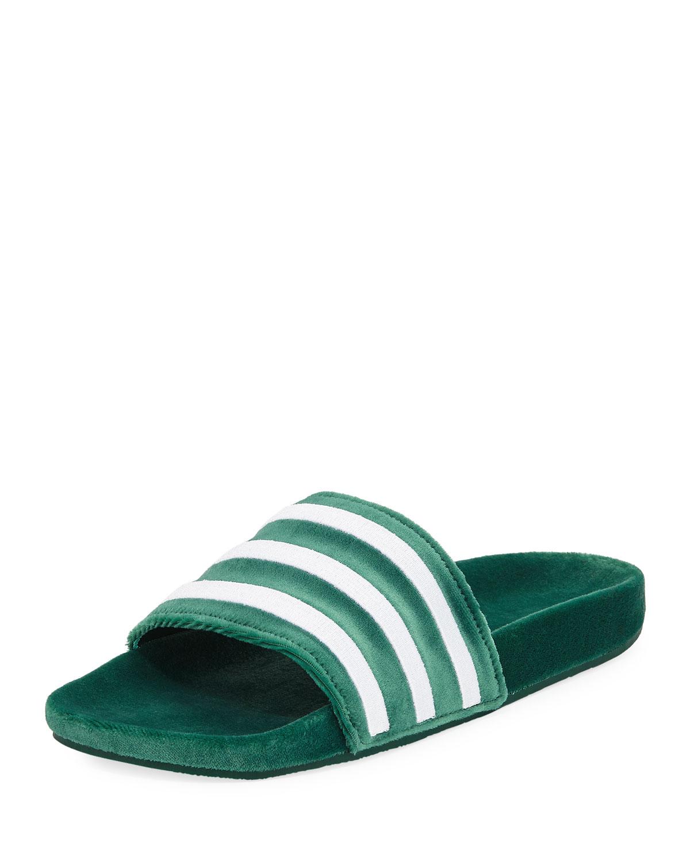 c6a022586a84 Adidas Men s Adilette Striped Velvet Slide Sandal