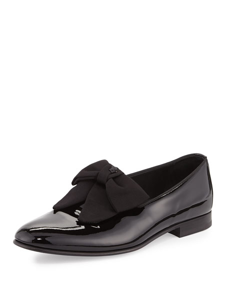 Patent Loafer w/Bow, Black