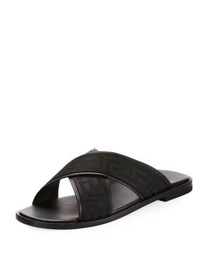 Men's Greek Key Crisscross Sandal, Black