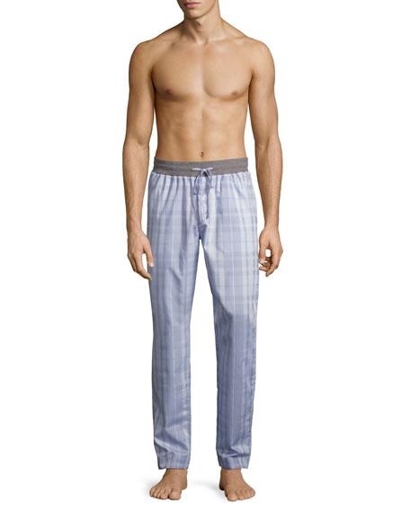 Harvey Plaid Woven Lounge Pants, Light Gray