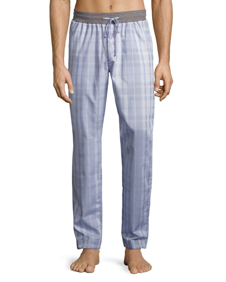 Hanro Harvey Plaid Woven Lounge Pants, Light Gray