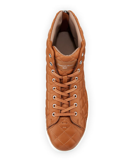 Quilted Leather High-Top Sneaker, Brown