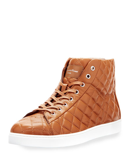 Gianvito Rossi Quilted Leather High-Top Sneaker, Brown