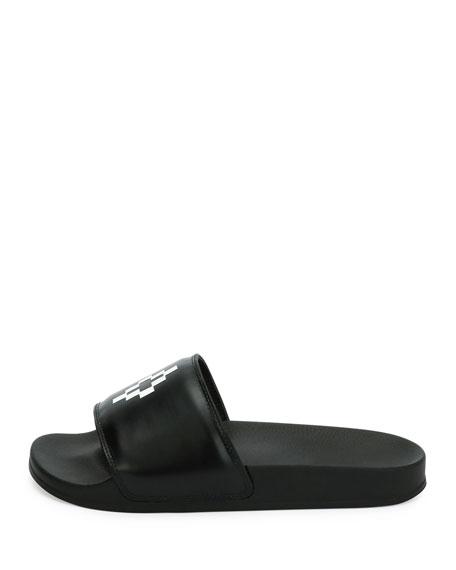 Giulia Leather Pool Slide Sandal, Black
