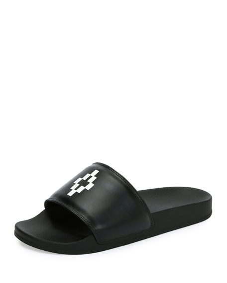 Marcelo Burlon Giulia Leather Pool Slide Sandal, Black