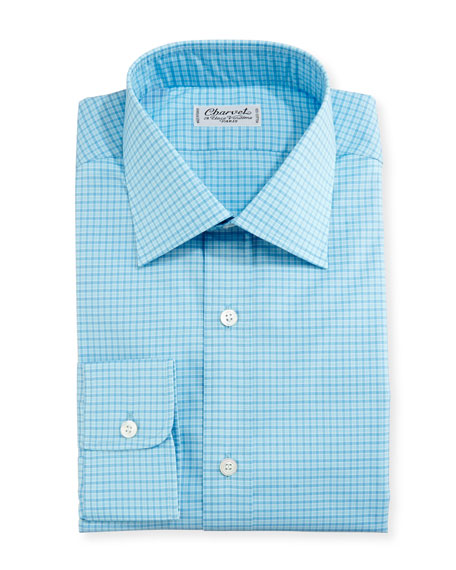 Mini-Check Dress Shirt, Blue/Teal