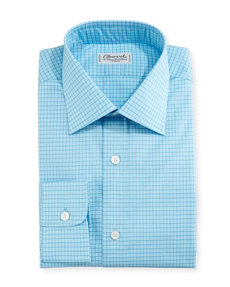 Charvet Mini-Check Dress Shirt, Blue/Teal