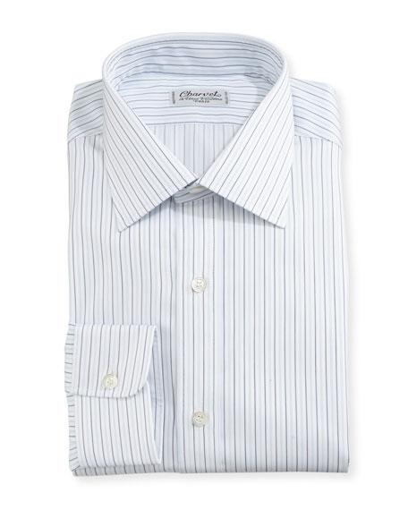 Multi-Stripe Dress Shirt, White/Blue/Black