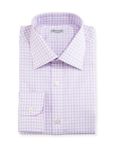 Check Dress Shirt, Purple/White