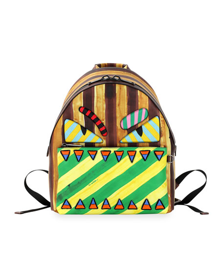Striped Monster Novelty Backpack, Multi