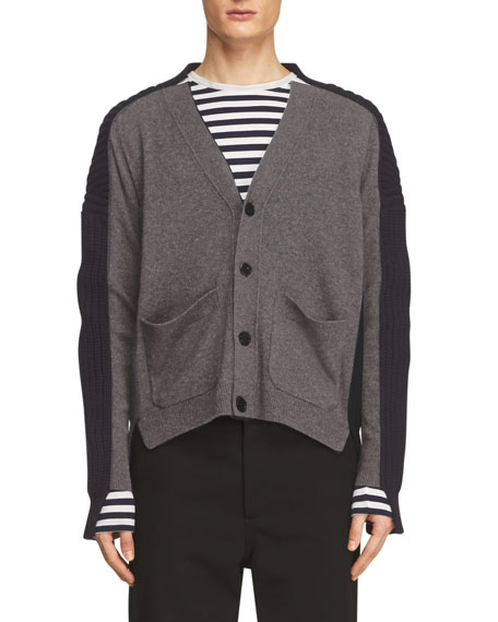 Blocked Mix-Ribbed Biker Cardigan, Gray/Blue