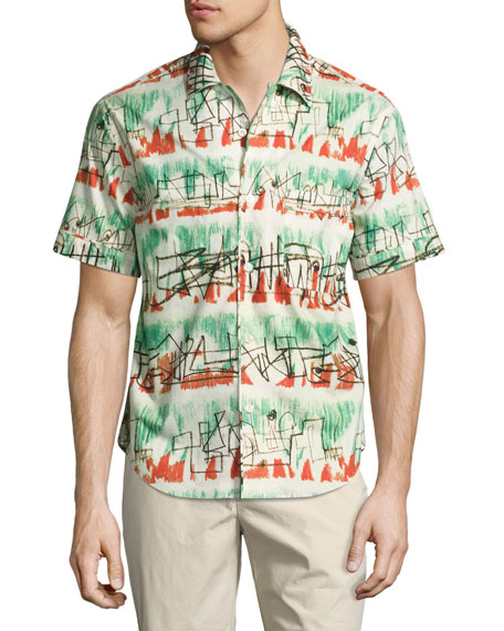 Burberry Henry Moore Abstract Lines Short-Sleeve Shirt, Pale