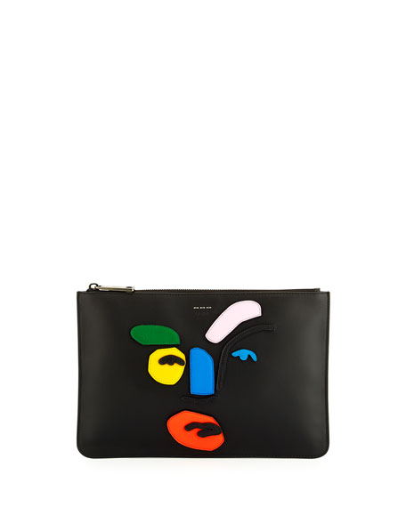 Fendi Calf Leather Face Pouch