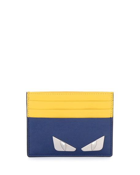 Fendi Monster Eyes Leather Card Case, Blue/Yellow
