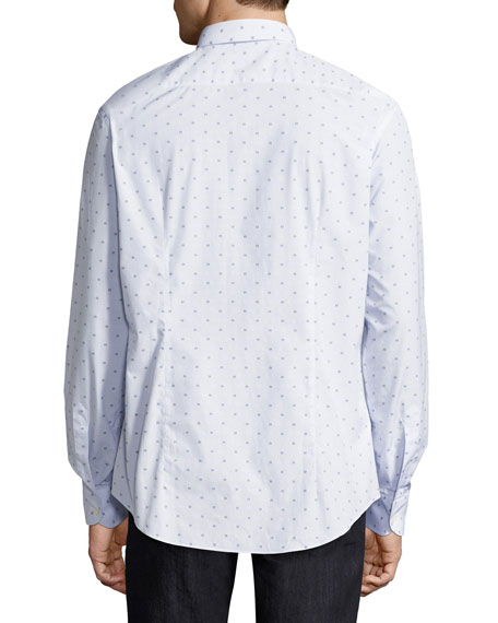Long-Sleeve Check Shirt with Floating Gancio Print, White/Navy