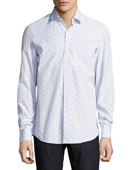 Men's Long-Sleeve Check Shirt with Floating Gancio Print, White/Navy