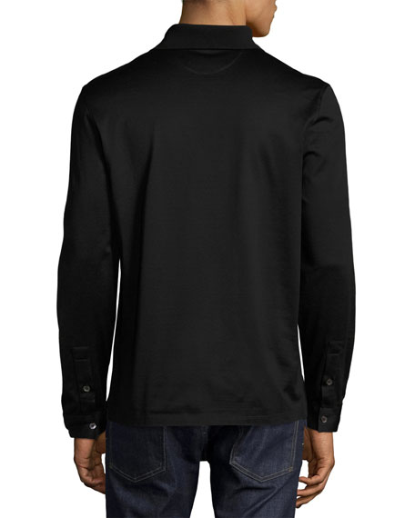 Long-Sleeve Polo Shirt with Gancini Chest Embroidery, Black