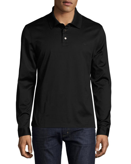 Salvatore Ferragamo Long-Sleeve Polo Shirt with Gancini Chest