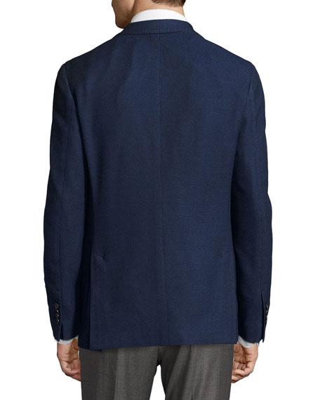 Piqué Cotton Two-Button Blazer, Navy