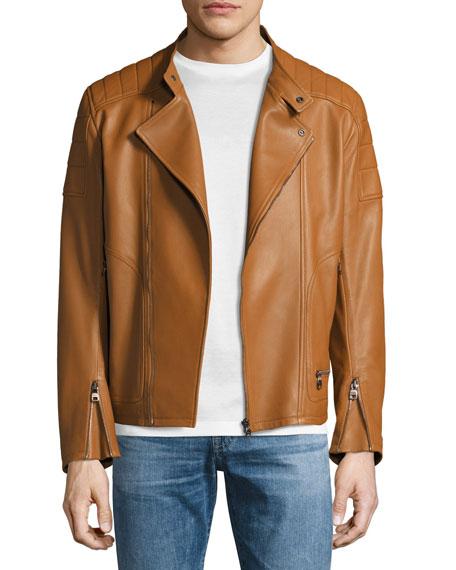 Salvatore Ferragamo Lambskin Nappa Moto Jacket, Tan