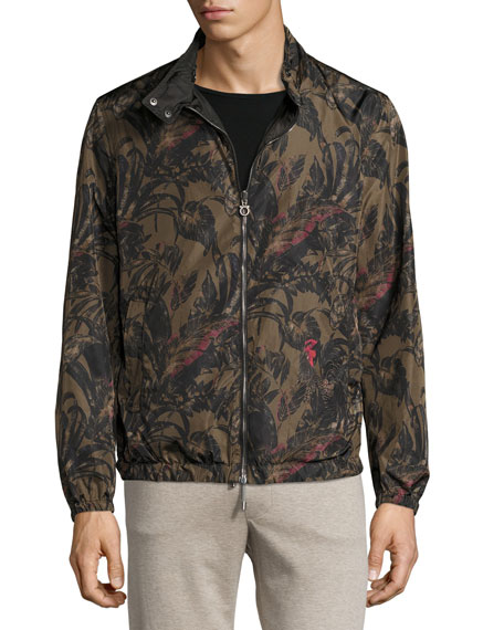 Foliage-Print to Black Reversible Blouson Jacket, Military Green/Black