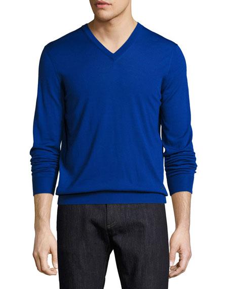 Salvatore Ferragamo Virgin Wool V-Neck Sweater, Royal Blue