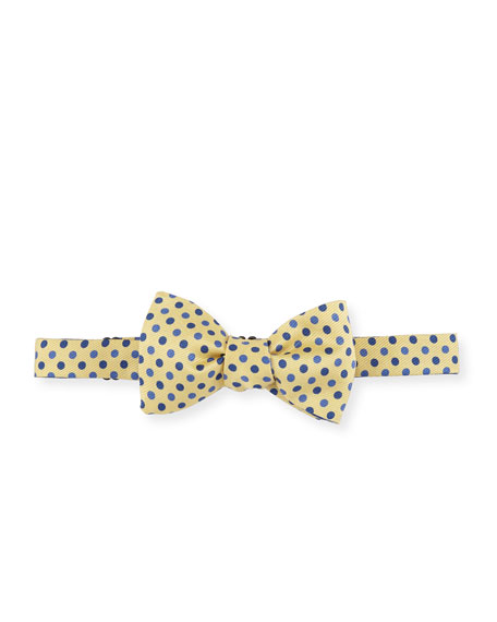 Floral & Dot Reversible Bow Tie, Yellow/Blue